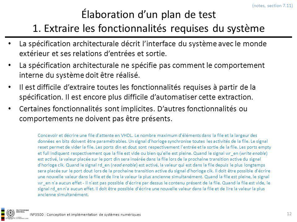 (notes, section 7.11) Élaboration d'un plan de test 1. Extraire les fonctionnalités requises du système.