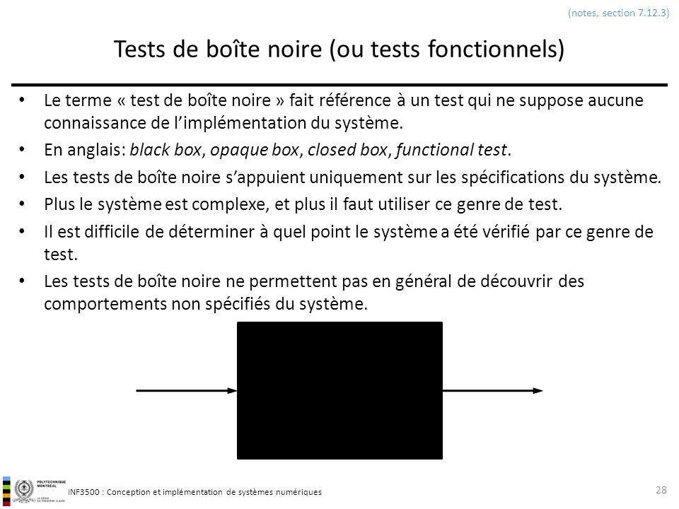 Tests de boîte noire (ou tests fonctionnels)
