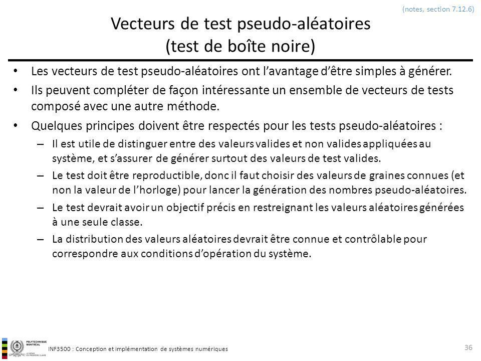 Vecteurs de test pseudo-aléatoires (test de boîte noire)