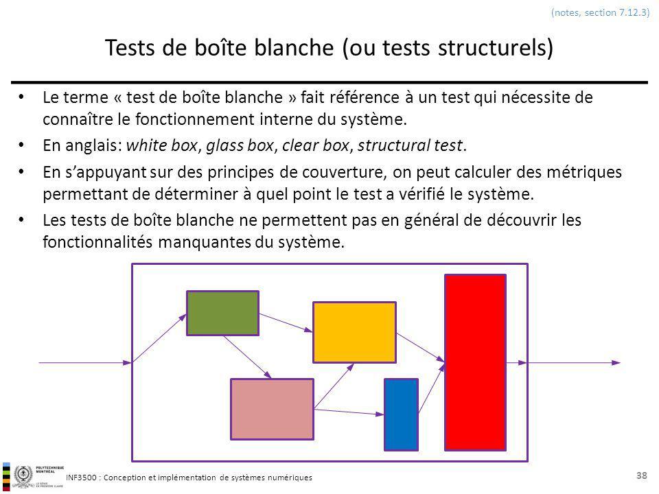 Tests de boîte blanche (ou tests structurels)