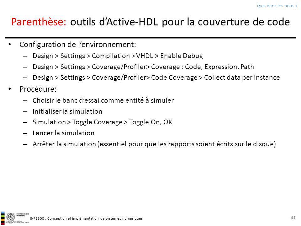 Parenthèse: outils d'Active-HDL pour la couverture de code
