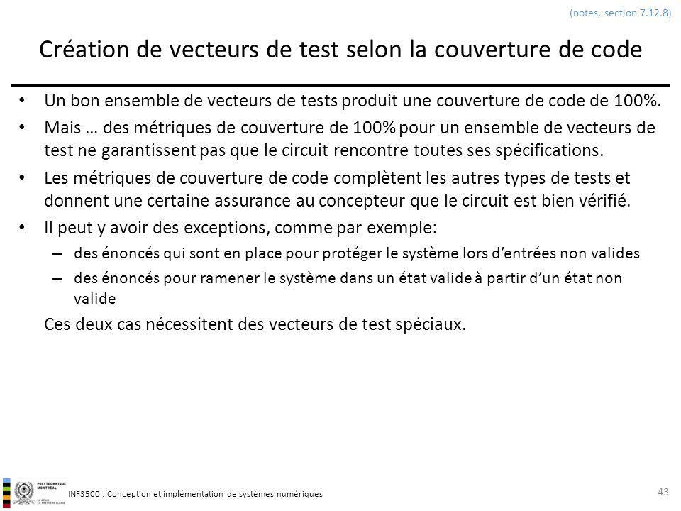 Création de vecteurs de test selon la couverture de code