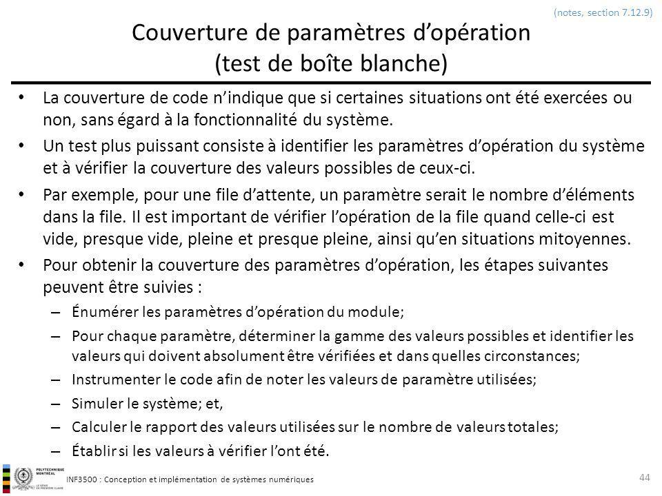 Couverture de paramètres d'opération (test de boîte blanche)