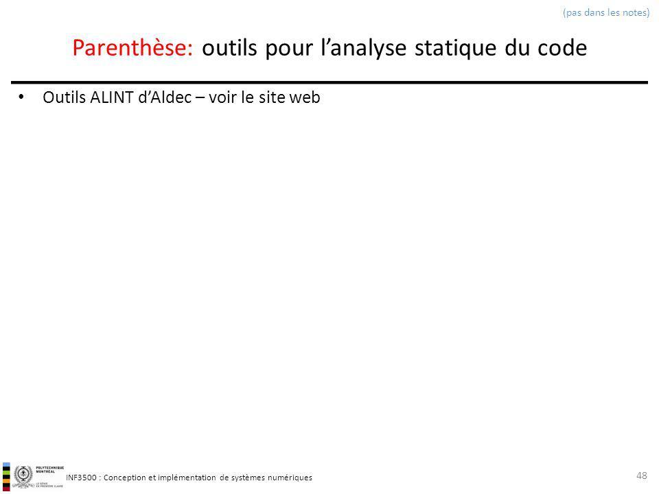 Parenthèse: outils pour l'analyse statique du code