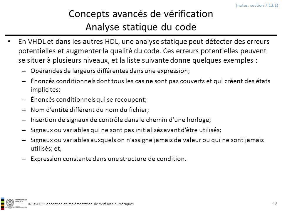 Concepts avancés de vérification Analyse statique du code