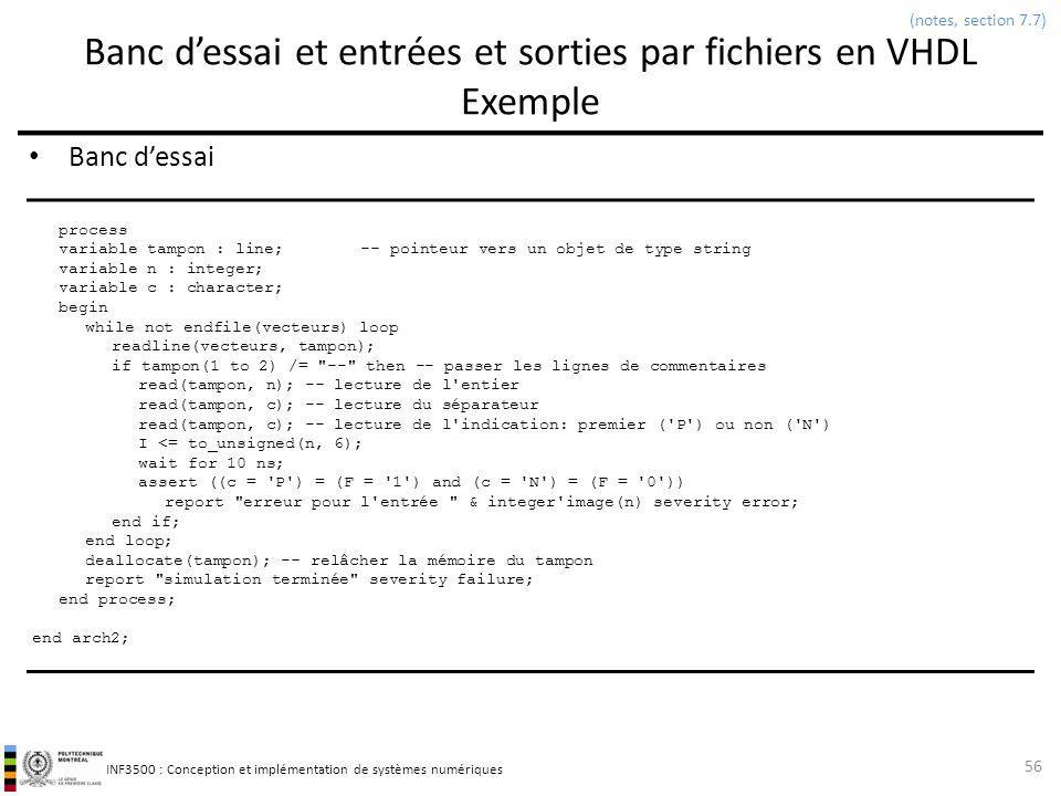 Banc d'essai et entrées et sorties par fichiers en VHDL Exemple