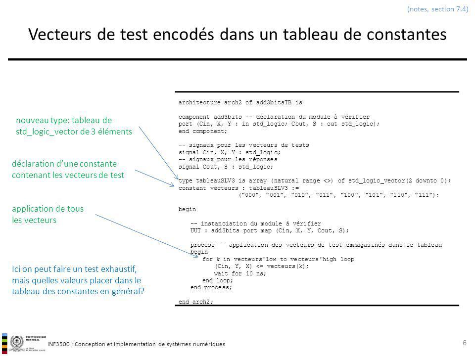 Vecteurs de test encodés dans un tableau de constantes