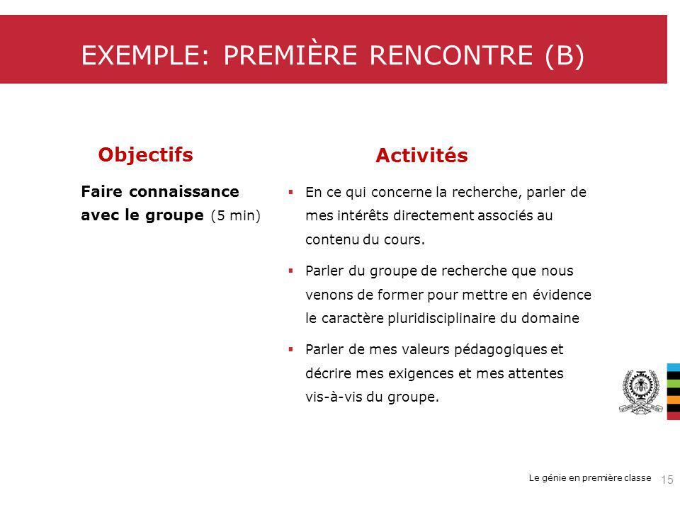 EXEMPLE: PREMIÈRE RENCONTRE (B)