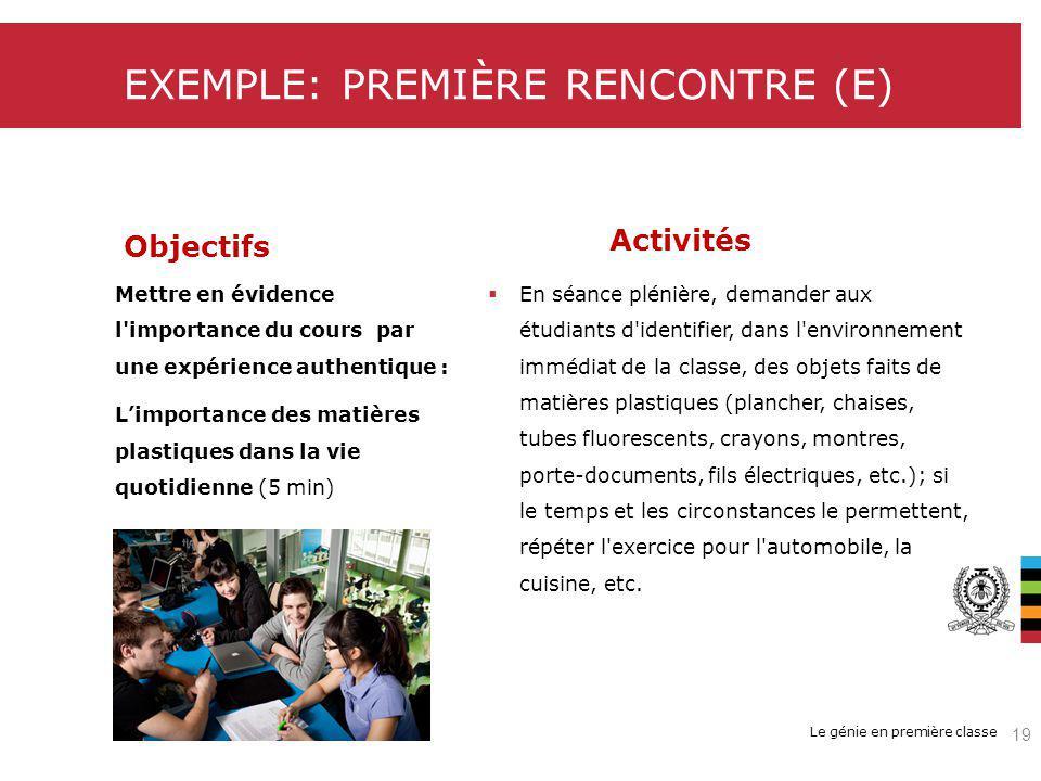 EXEMPLE: PREMIÈRE RENCONTRE (E)