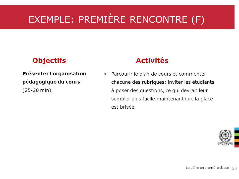 EXEMPLE: PREMIÈRE RENCONTRE (F)