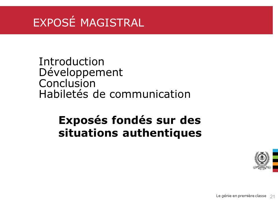 EXPOSÉ MAGISTRAL Introduction. Développement. Conclusion. Habiletés de communication. Exposés fondés sur des.