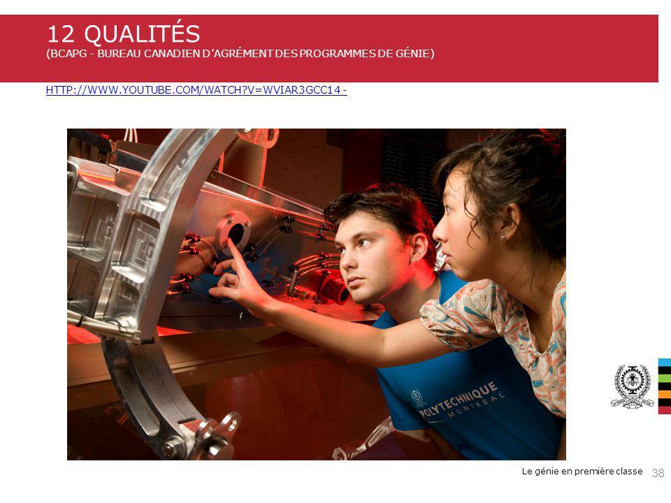 12 qualités (BCAPG - Bureau Canadien d'agrément des programmes de génie) http://www.youtube.com/watch v=wvIar3GCC14 -