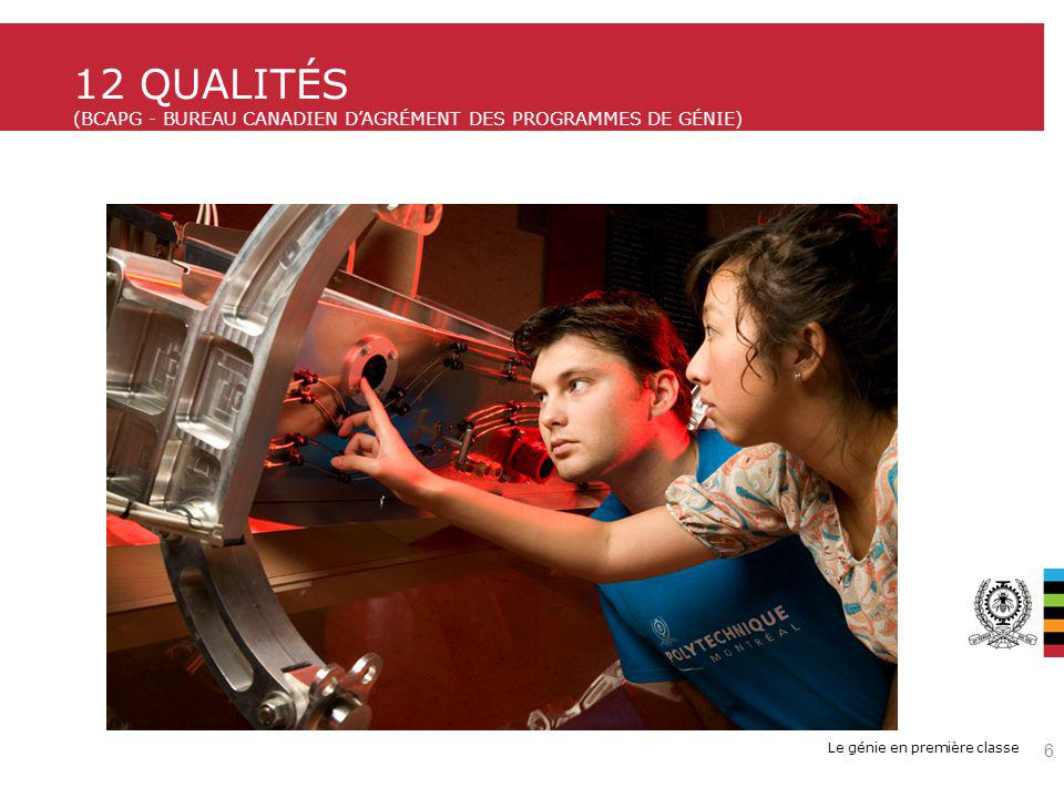 12 qualités (BCAPG - Bureau Canadien d'agrément des programmes de génie)