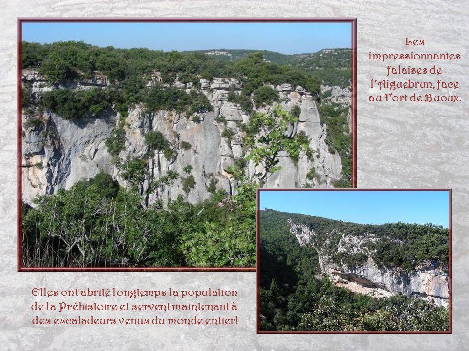 Les impressionnantes falaises de l'Aiguebrun, face au Fort de Buoux.