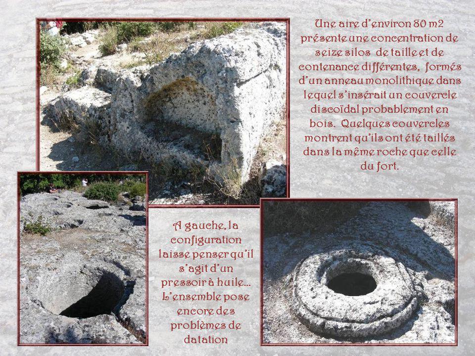 Une aire d'environ 80 m2 présente une concentration de seize silos de taille et de contenance différentes, formés d'un anneau monolithique dans lequel s'insérait un couvercle discoïdal probablement en bois. Quelques couvercles montrent qu'ils ont été taillés dans la même roche que celle du fort.
