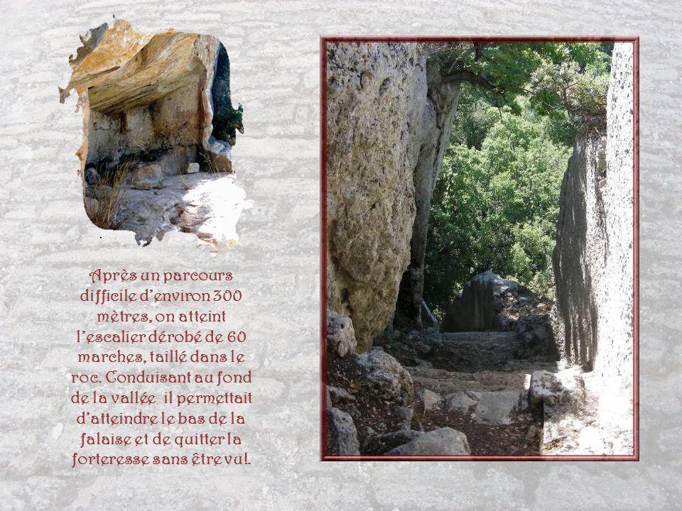 Après un parcours difficile d'environ 300 mètres, on atteint l'escalier dérobé de 60 marches, taillé dans le roc.