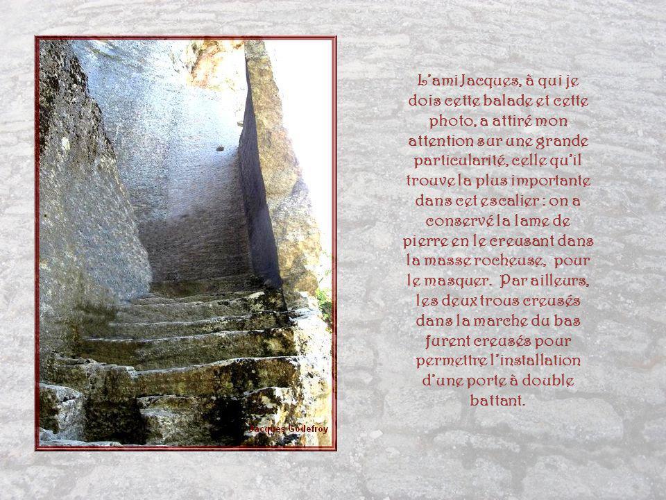 L'ami Jacques, à qui je dois cette balade et cette photo, a attiré mon attention sur une grande particularité, celle qu'il trouve la plus importante dans cet escalier : on a conservé la lame de pierre en le creusant dans la masse rocheuse, pour le masquer.