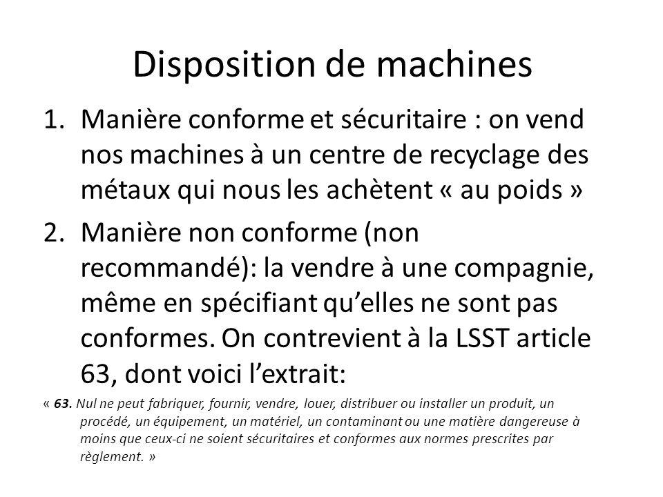 Disposition de machines