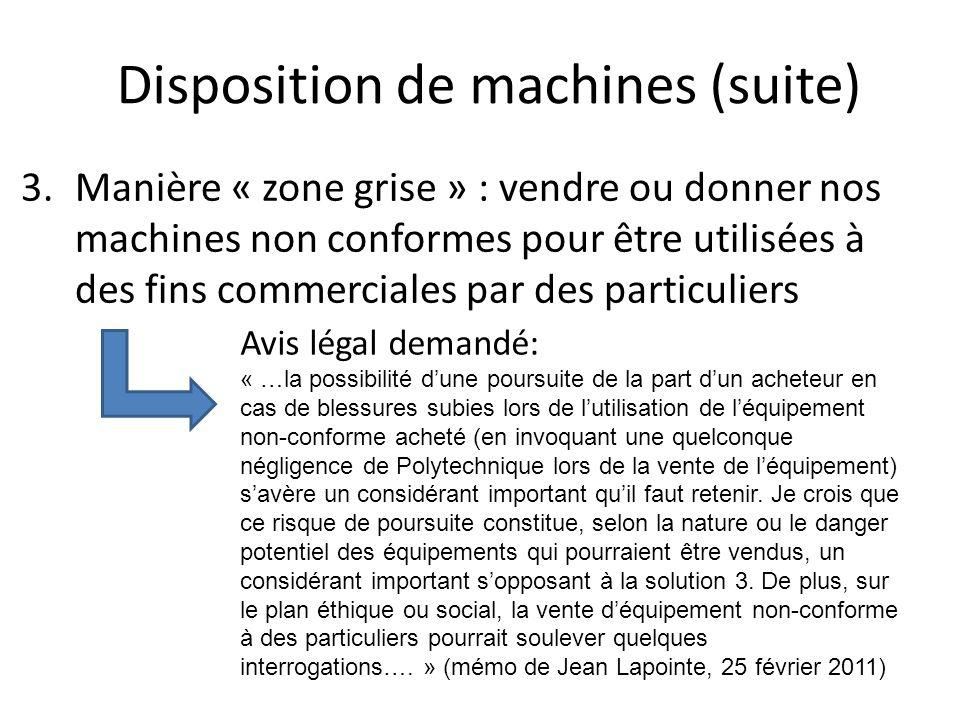 Disposition de machines (suite)