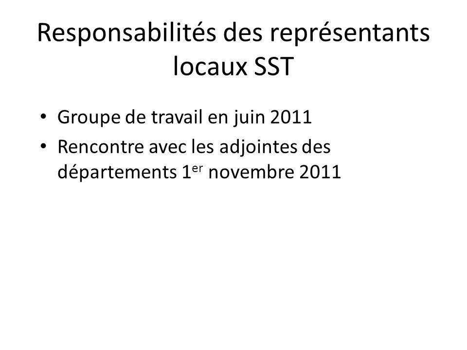 Responsabilités des représentants locaux SST