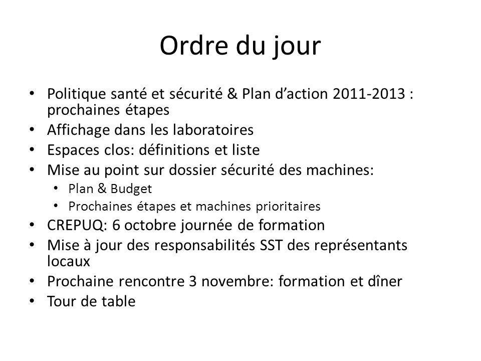 Ordre du jour Politique santé et sécurité & Plan d'action 2011-2013 : prochaines étapes. Affichage dans les laboratoires.