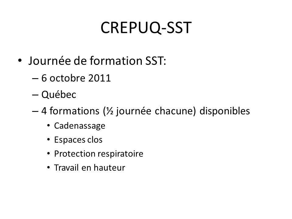 CREPUQ-SST Journée de formation SST: 6 octobre 2011 Québec