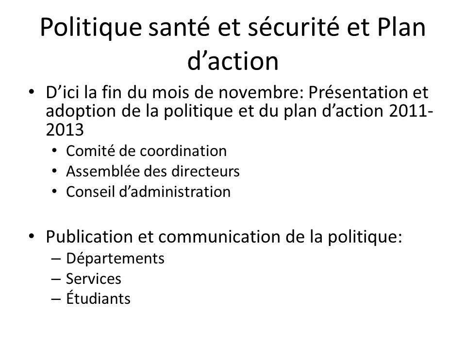 Politique santé et sécurité et Plan d'action
