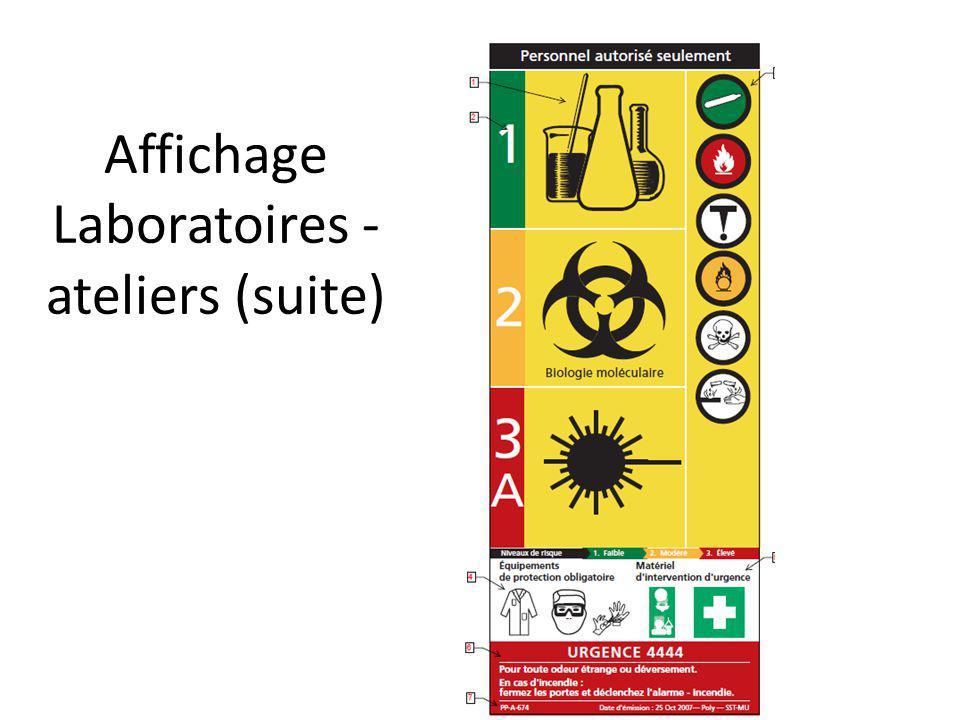 Affichage Laboratoires -ateliers (suite)