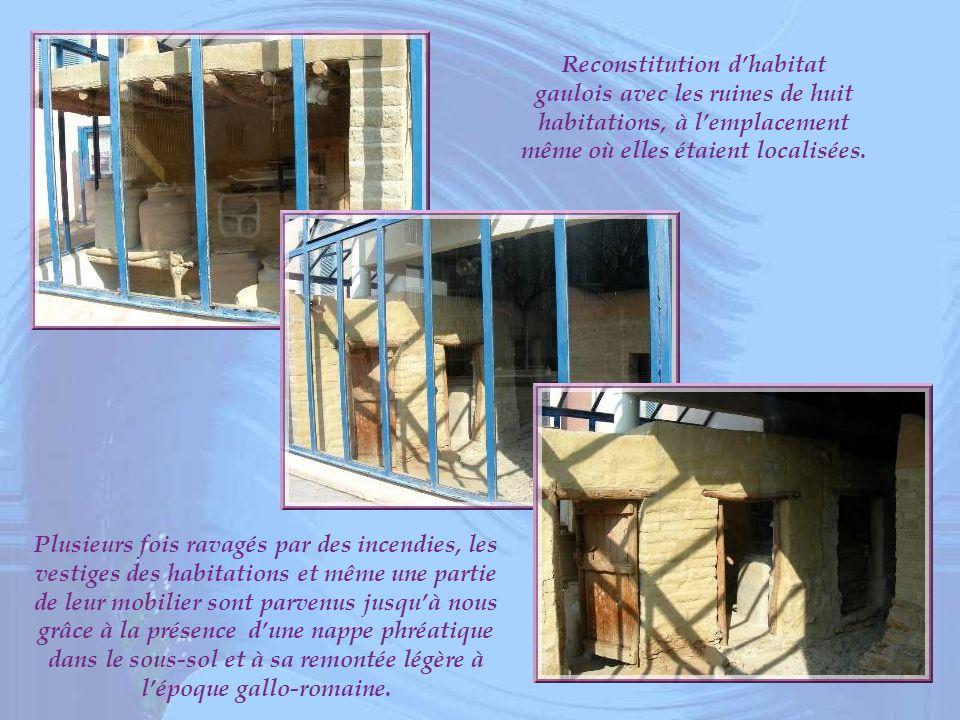 Reconstitution d'habitat gaulois avec les ruines de huit habitations, à l'emplacement même où elles étaient localisées.