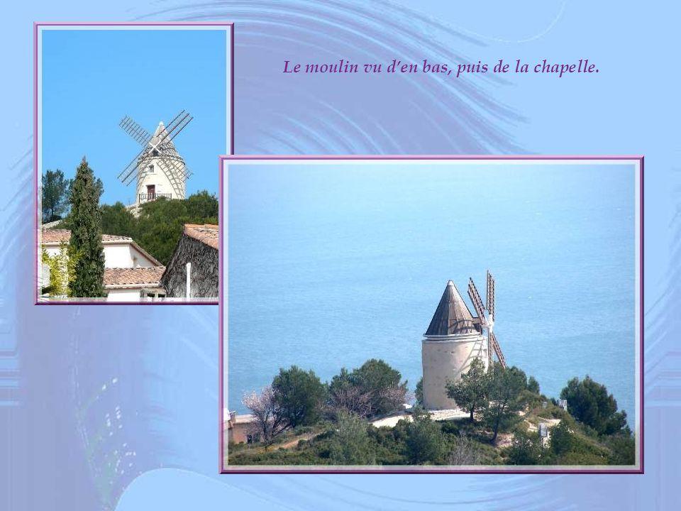 Le moulin vu d'en bas, puis de la chapelle.