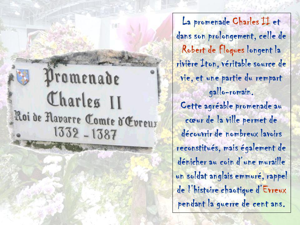 La promenade Charles II et dans son prolongement, celle de Robert de Floques longent la rivière Iton, véritable source de vie, et une partie du rempart gallo-romain.