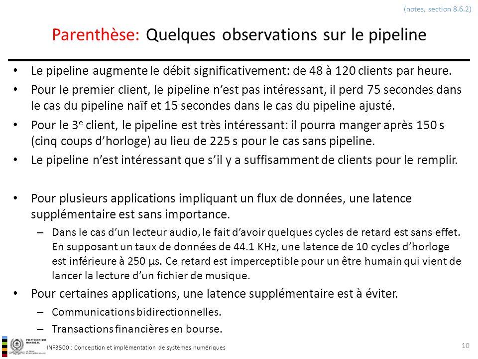 Parenthèse: Quelques observations sur le pipeline