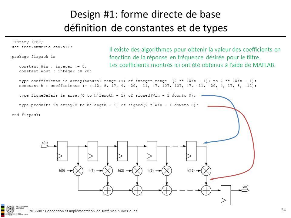 Design #1: forme directe de base définition de constantes et de types