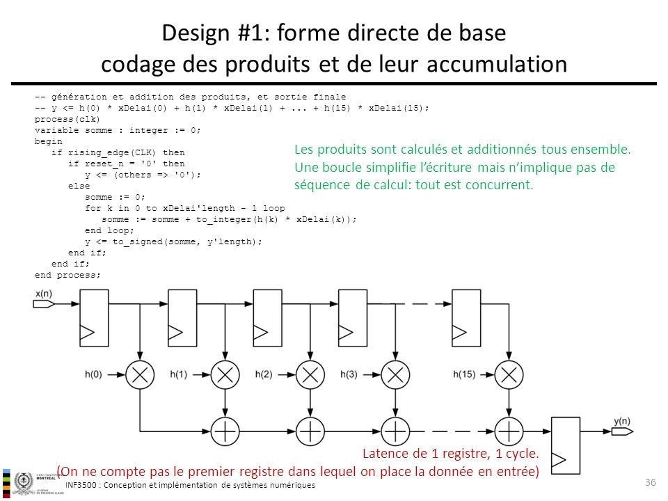 Design #1: forme directe de base codage des produits et de leur accumulation