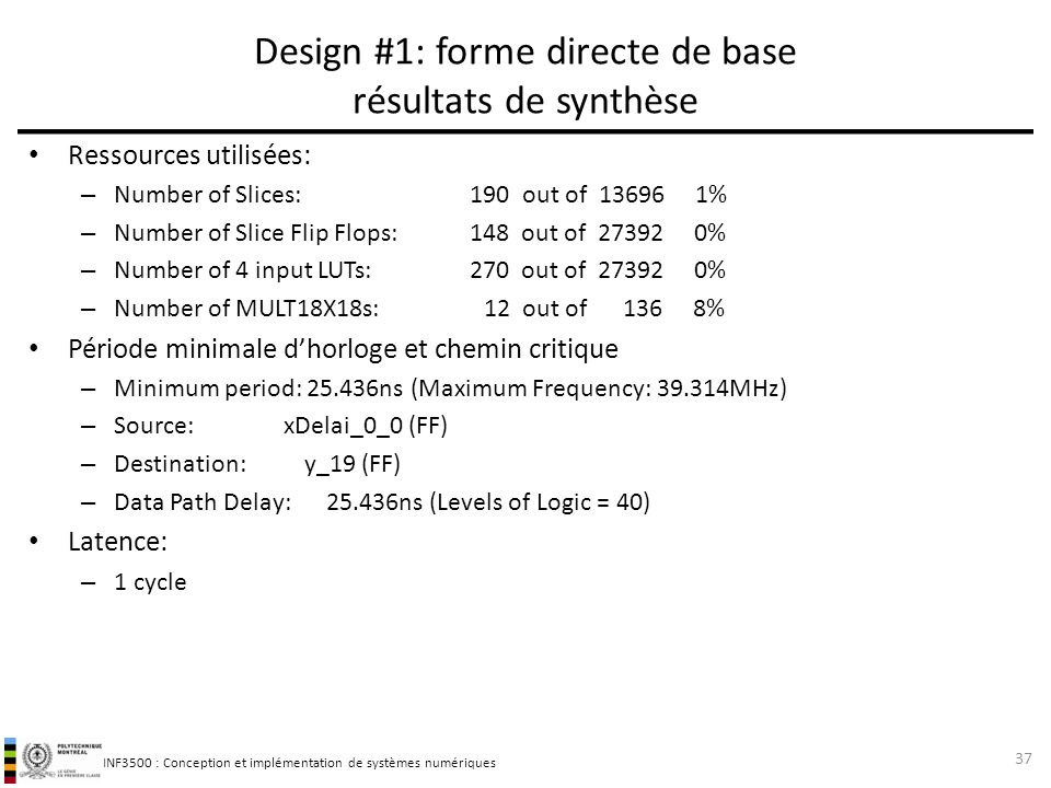 Design #1: forme directe de base résultats de synthèse