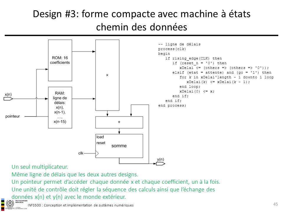 Design #3: forme compacte avec machine à états chemin des données