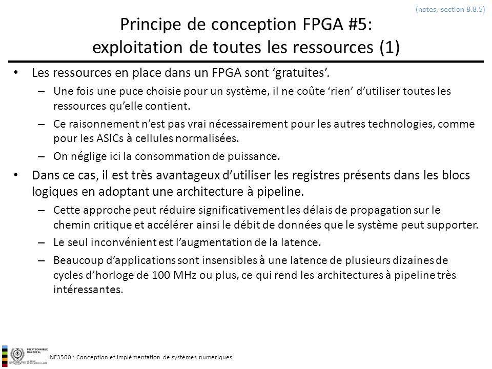 (notes, section 8.8.5) Principe de conception FPGA #5: exploitation de toutes les ressources (1)