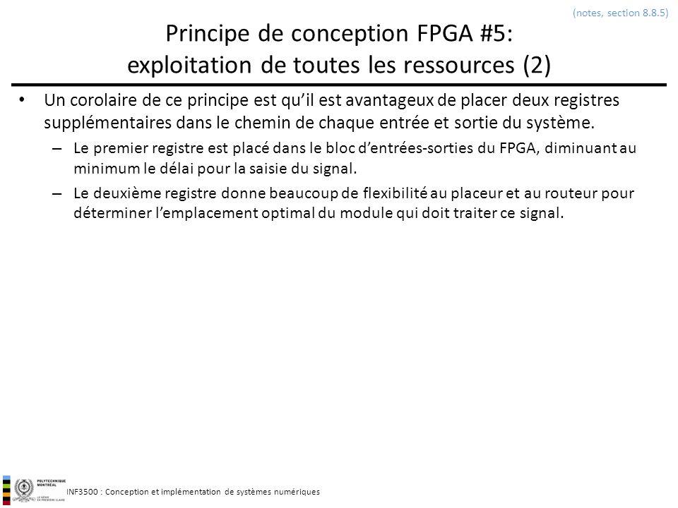 (notes, section 8.8.5) Principe de conception FPGA #5: exploitation de toutes les ressources (2)