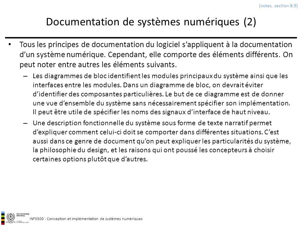 Documentation de systèmes numériques (2)