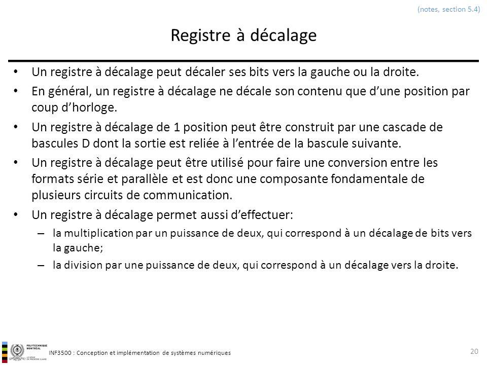 (notes, section 5.4) Registre à décalage. Un registre à décalage peut décaler ses bits vers la gauche ou la droite.