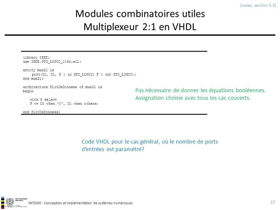 Modules combinatoires utiles Multiplexeur 2:1 en VHDL