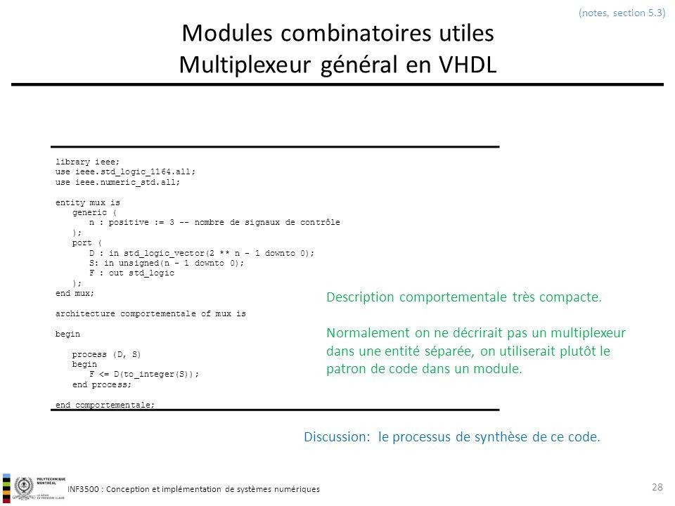 Modules combinatoires utiles Multiplexeur général en VHDL