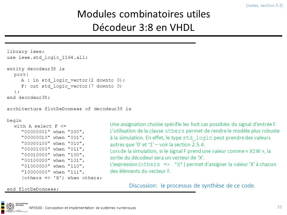 Modules combinatoires utiles Décodeur 3:8 en VHDL