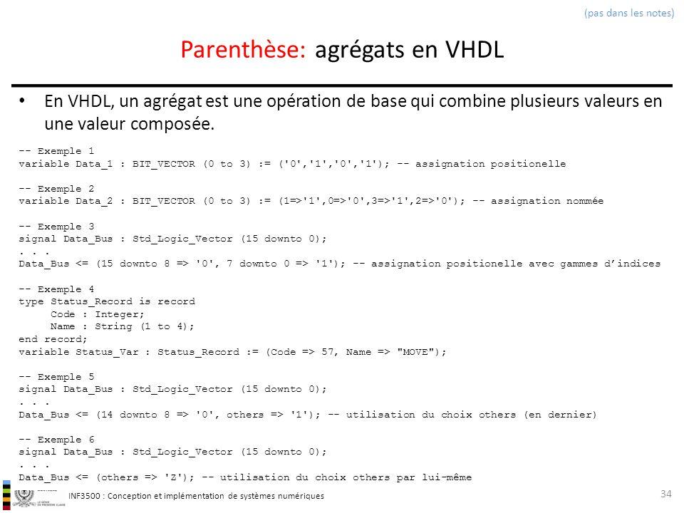 Parenthèse: agrégats en VHDL