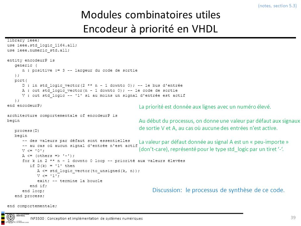 Modules combinatoires utiles Encodeur à priorité en VHDL
