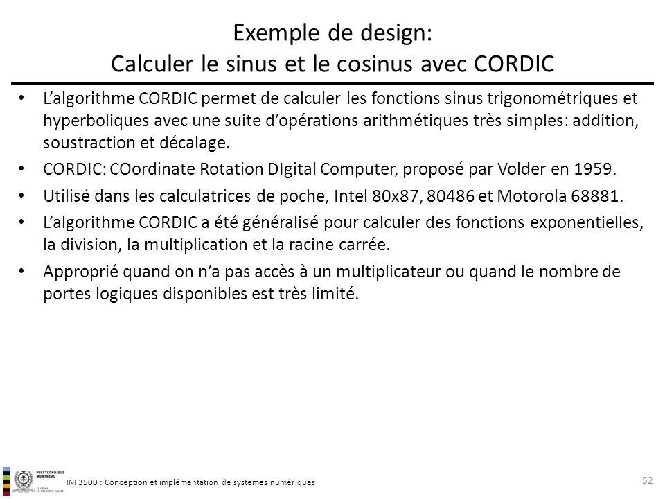 Exemple de design: Calculer le sinus et le cosinus avec CORDIC