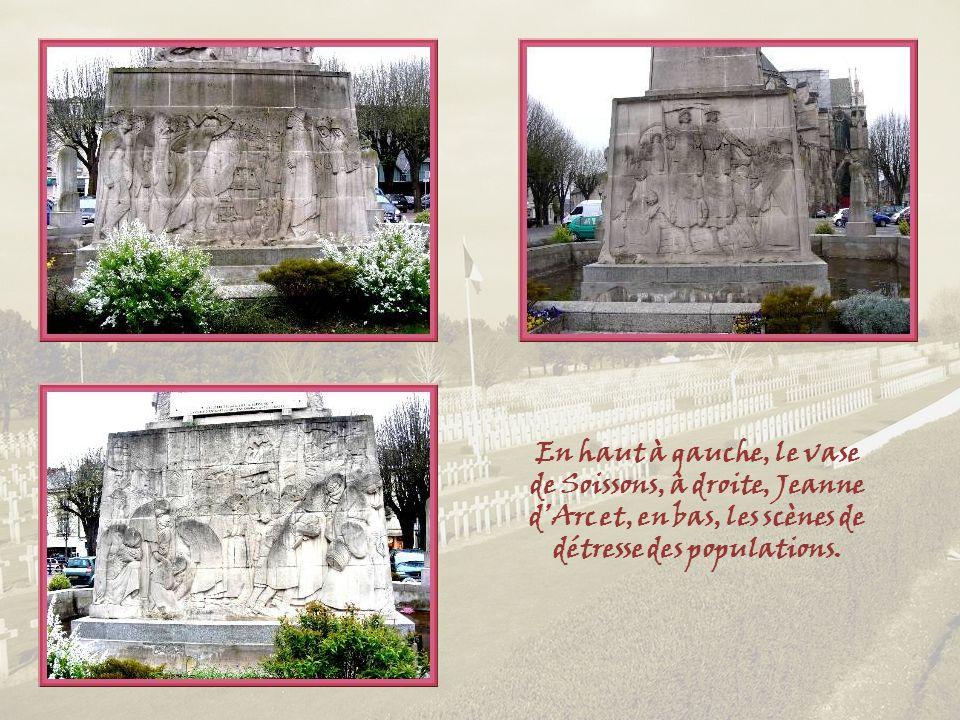 En haut à gauche, le vase de Soissons, à droite, Jeanne d'Arc et, en bas, les scènes de détresse des populations.