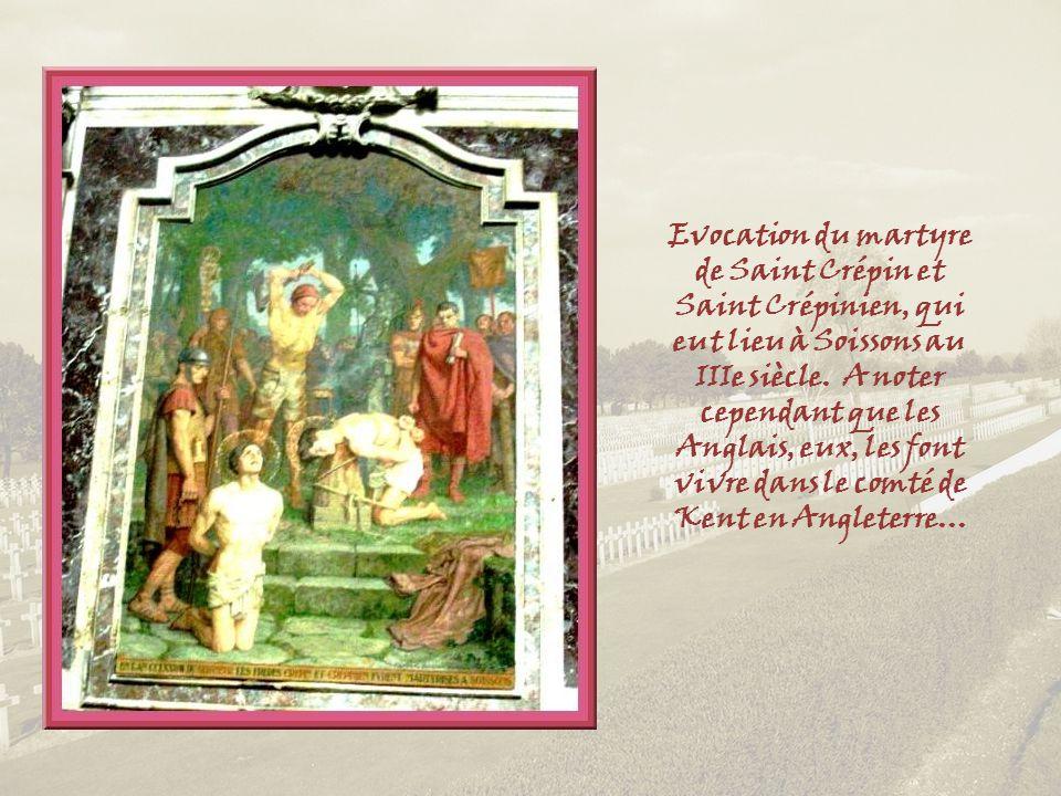 Evocation du martyre de Saint Crépin et Saint Crépinien, qui eut lieu à Soissons au IIIe siècle.