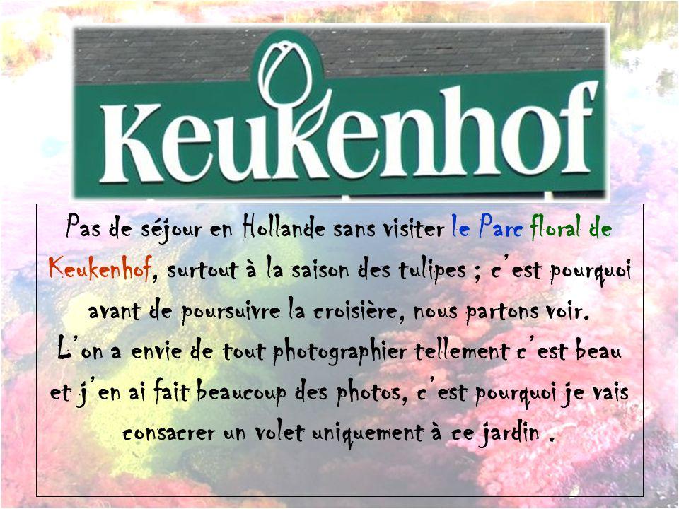 Pas de séjour en Hollande sans visiter le Parc floral de Keukenhof, surtout à la saison des tulipes ; c'est pourquoi avant de poursuivre la croisière, nous partons voir.