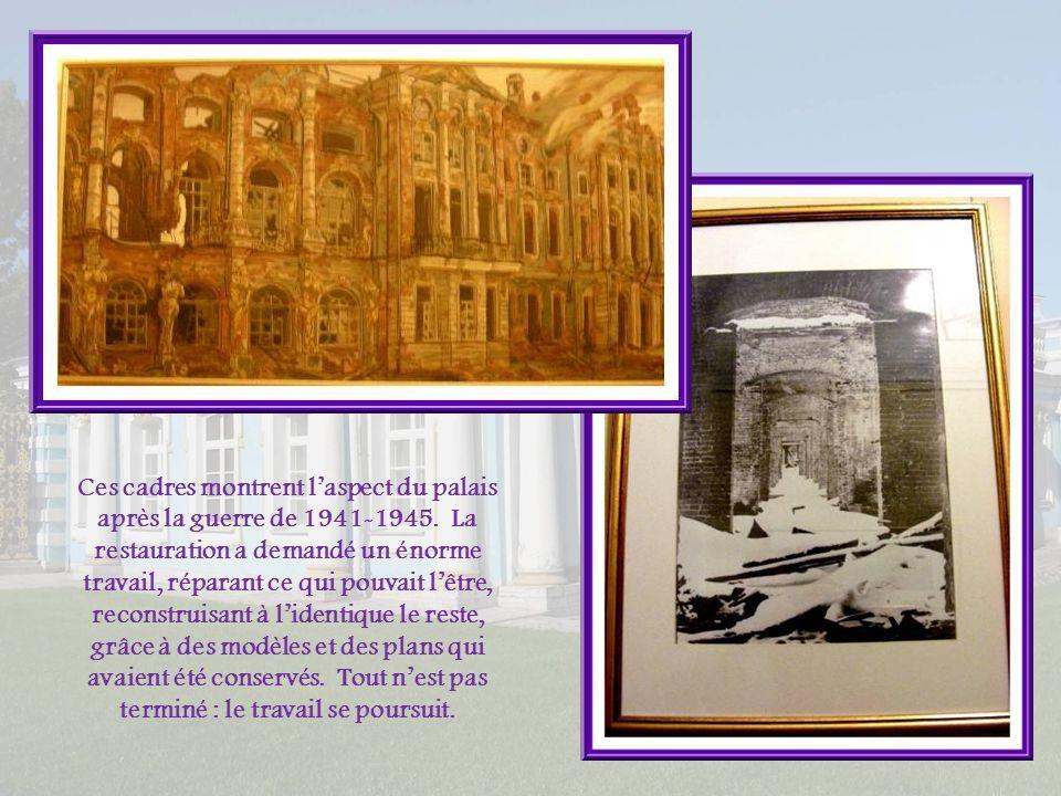 Ces cadres montrent l'aspect du palais après la guerre de 1941-1945
